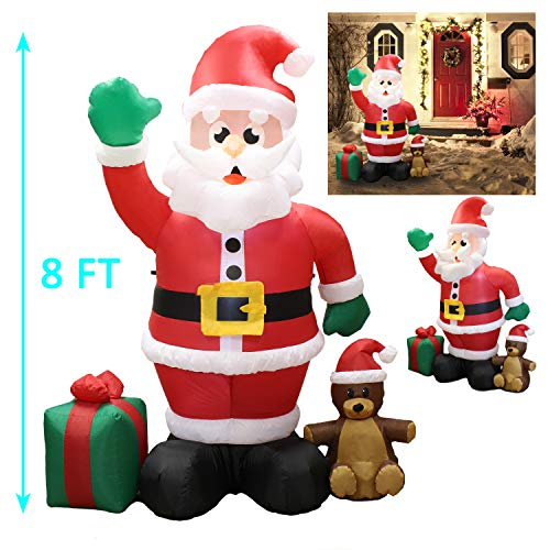 Joiedomi 8 ft Giant Christmas Self Inflatable Santa Claus LED Light Up Blow Up Yard Decoration for Xmas Holiday Indoor/Outdoor Garden Party Favor Supplies Décor.