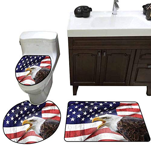 3 Piece Toilet mat Set American Flag Decor Eagle on Foreground Banner Pride History Solidarity Martial Identity Symbol Printed Rug Set Multi -