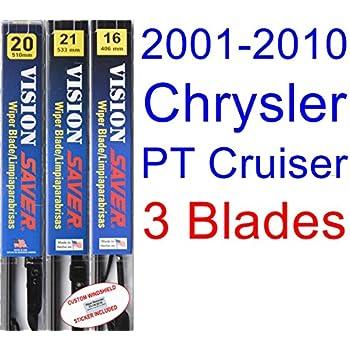 2001-2010 Chrysler PT Cruiser Replacement Wiper Blade Set/Kit (Set of 3 Blades) (Saver Automotive Products-Vision Saver) (2002,2003,2004,2005,2006,2007,2008 ...