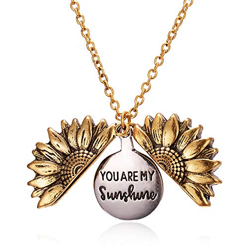 Kpergah You are My Sunshine Engraved Necklace and Keep Funking Going Engraved Pendant Sunflower Locket Necklace