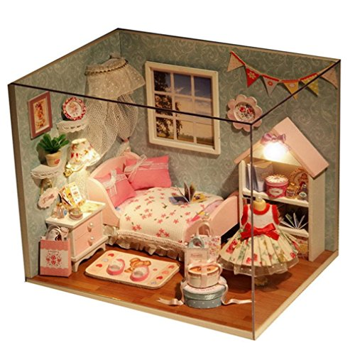 Price comparison product image Hot Sale!Dollhouse,Sunfei Handmade Miniature Dollhouse 3D Wooden DIY House With Light Festive Gift (C)