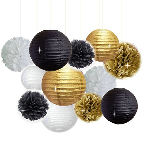 New-Years-Decorations-Gold-Black-White-Party-Decor-Kit-Tissue-Paper-Pom-Poms-Flower-Paper-Lantern-Party-Hanging-Decoration-Favor-for-Birthday-Decoration-Black-Gold-Themed-Decor