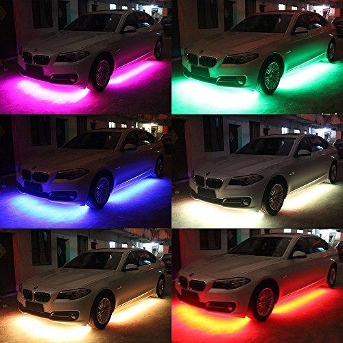 4 pcs Mihaz High Intensity Led Car Light Underglow Kit, Leds Glow Running RGB Colors Automotive Neon Tube Light Strip Under Car Wireless Remote Control Sound Active Function Led Car Lights(90-120cm)