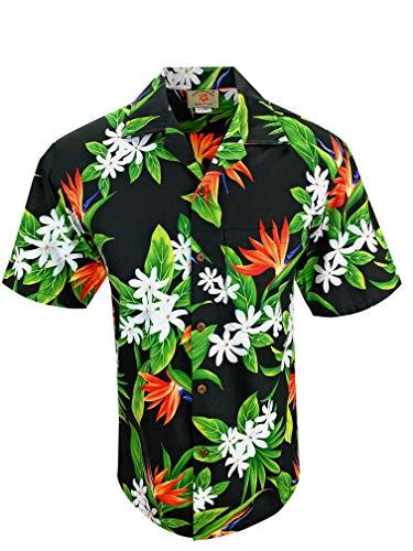 Tropical Luau Beach Cotton Print Men's Hawaiian Aloha Shirt (3X-Large, Bird of Paradise Black)