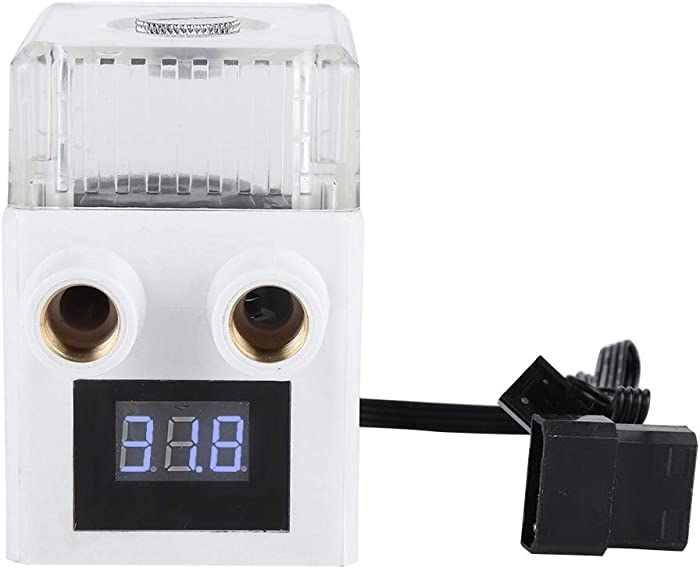 fosa G1/4 Thread PC Temperature Display Integrated Water Cooling Pump for PUB-12YT, Ceramic Bearing Three-Phase PC Water Cooling Tank Built-in Pure Copper Nail(White)