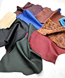 Leather Scraps Upholstery Leather (2 lbs) Premium Assorted Leather Pieces for Crafts