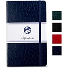 Bullet Journal | Notebook - Beautiful Crocodile Leather Textured Hardcover Size A5 Diary, with Premium Ivory Acid-Free 120 GSM Paper, Lightly Ruled, 180 Pages, Navy Blue