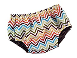 Juxby Kids Baby-Orange-Brown-Yellow-Lime-Aqua Chevron Diaper Cover-12to24m