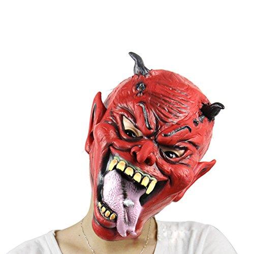 [Realistic Little Horns Yaksha Halloween Latex Mask] (Latex Devil Mask)
