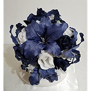 Navy Blue Ivory White Rose Tiger Lily Bridal Wedding Bouquet & Boutonniere 16