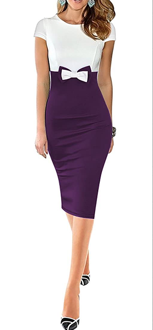 FORTRIC Women Elegant Slim Bow Patchwork Wear to Work Cocktail Pencil Dress FOR0091