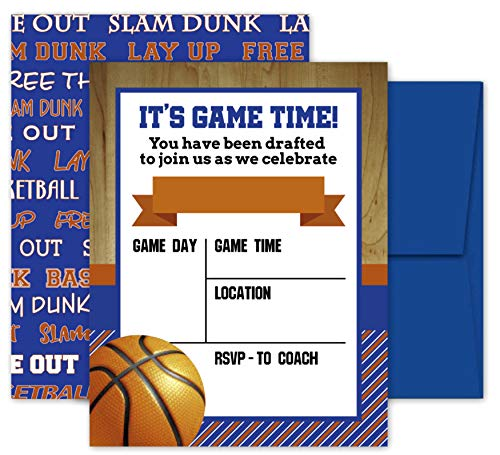 Deluxe Basketball Invitations, Birthday Party, Sports Game, Baby Shower Invites- 20 Large Double Sided 5 x 7 Inch Cards with Blue Envelopes Made in the -