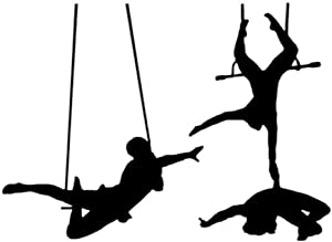 Decorate Life Trapeze Circus Performance Silhouette Wall Decal Sticker Art Vinyl Decor Removable PVC Decoration for Cirque Circus Bedroom 56×74cm.