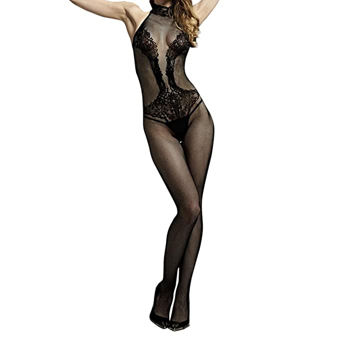 Amazon.com: IEason Womens Siamese Lingerie Floral Open Mesh Bodystockings Black Bodysuit (Free Size, A): Clothing
