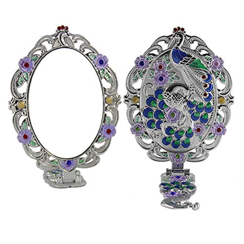 Elegant Makeup Mirror Vintage Metal Silver Mirror Folding Cosmetic Mirror -
