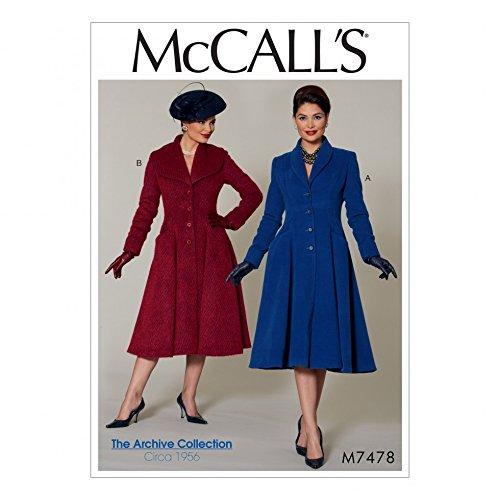 McCalls Patron de femmes Patron de couture 7478/1950/de style vintage Fit /& Flare col ch/âle manteaux