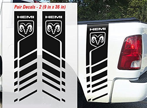 Dodge Ram 1500 2500 3500 Truck Bed Stripe Vinyl Decal Logo Hemi 4x4 Racing 9X36 PICK COLOR