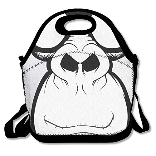 (Cool Monkey Head Portable Lunch Box Bag Insulated Waterproof Outdoor Storage Handbag for Women Adults)