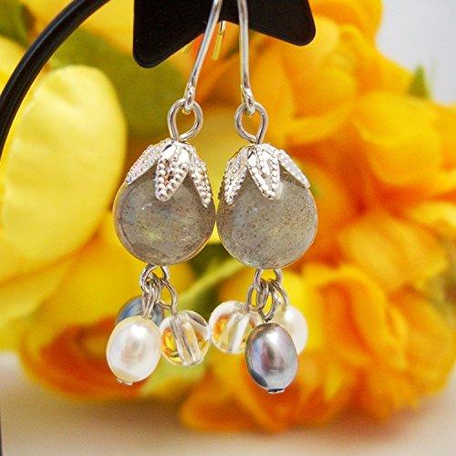 Labradorite & Clear Quartz & Freshwater Cultured Pearl (Gray & White), Pierced Earring Gemstones ,Titanium Hook