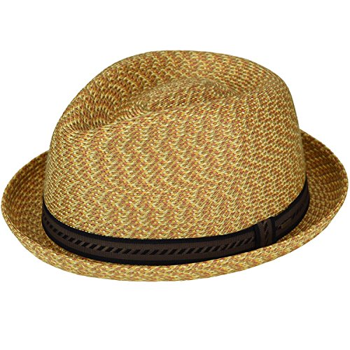 Bailey of Hollywood Men's Mannes Braided Fedora Trilby Hat, Wheat Multi, ()