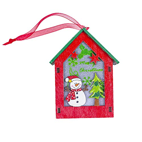 (Hot Sale!DEESEE(TM)Christmas Lighted Crafts Cabin House Tree Pendant Holiday Hanging Ornament (C))