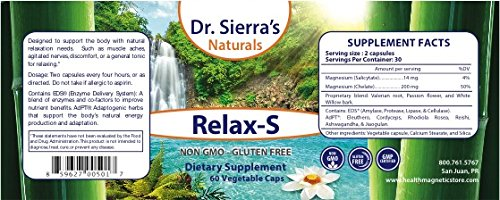 Relax-S All Natural Muscle & Relaxation Herbal Supplement 60 Vegan caps by Dr. Sierra's Naturals (Image #1)