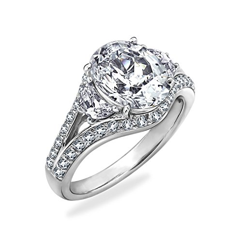 Diamonbliss Sterling Silver Cubic Zirconia 100-Facet Oval Cut Ring, Size ()