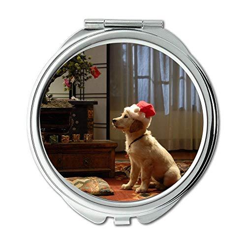 Mirror,Round Mirror,Taco Dog christmas dog,pocket mirror,1 X 2X -