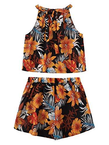 SweatyRocks Women's 2 Piece Boho Floral Print Crop Cami Top with Shorts Set Multicolor Medium (Boho Crop)
