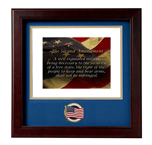 American Flag Medallion Solid Wood Frame The Second Amendment Stamped and Numbered Print (Medallion Stamped)