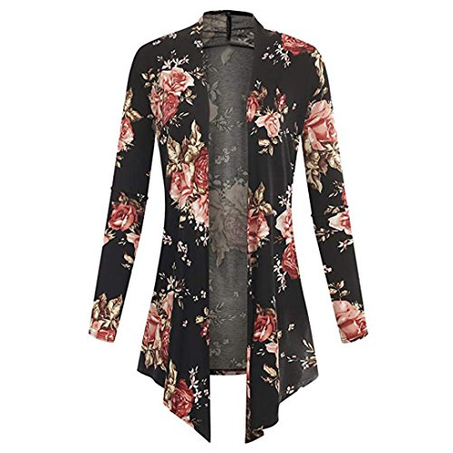 Clearance Sale Womens Casual Long Sleeve Floral Irregular Hem Cardigan Open Coat Tops Blouse 4-12 (Red, US:12(Asian XXL)) from Aurorax-Jacket