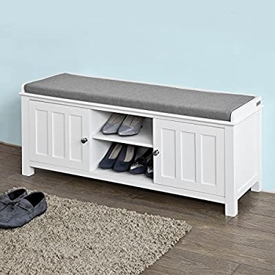 Haotian White Storage Bench with 2 Doors & Removable Seat Cushion, Shoe Cabinet Shoe Bench,FSR35-W,White - Comfortable padded seat cushion is removable. Two cubes with doors and storage compartment in middle with adjustable shelf provide large storage space. Material: MDF/Polyester linen-like fabric/Sponge. - entryway-furniture-decor, entryway-laundry-room, benches - 51A4 2bgM0L. SS400  -