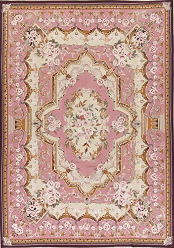 Rug Source New Floral Savonnerie Chinese Oriental Hand Woven Wool Transitional Area Rug 8x11 Pink (11' 5