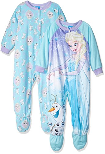 Disney Little Girls' Toddler Frozen Elsa 2-Pack Fleece - Frozen Footed Pajamas 2t