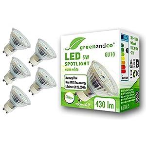 5X greenandco® CRI 97+ 2700K LED Spot Replaces 50 Watt GU10 Halogen Spotlight, 5W 430 Lumen Warm White SMD LED 110° 230V…