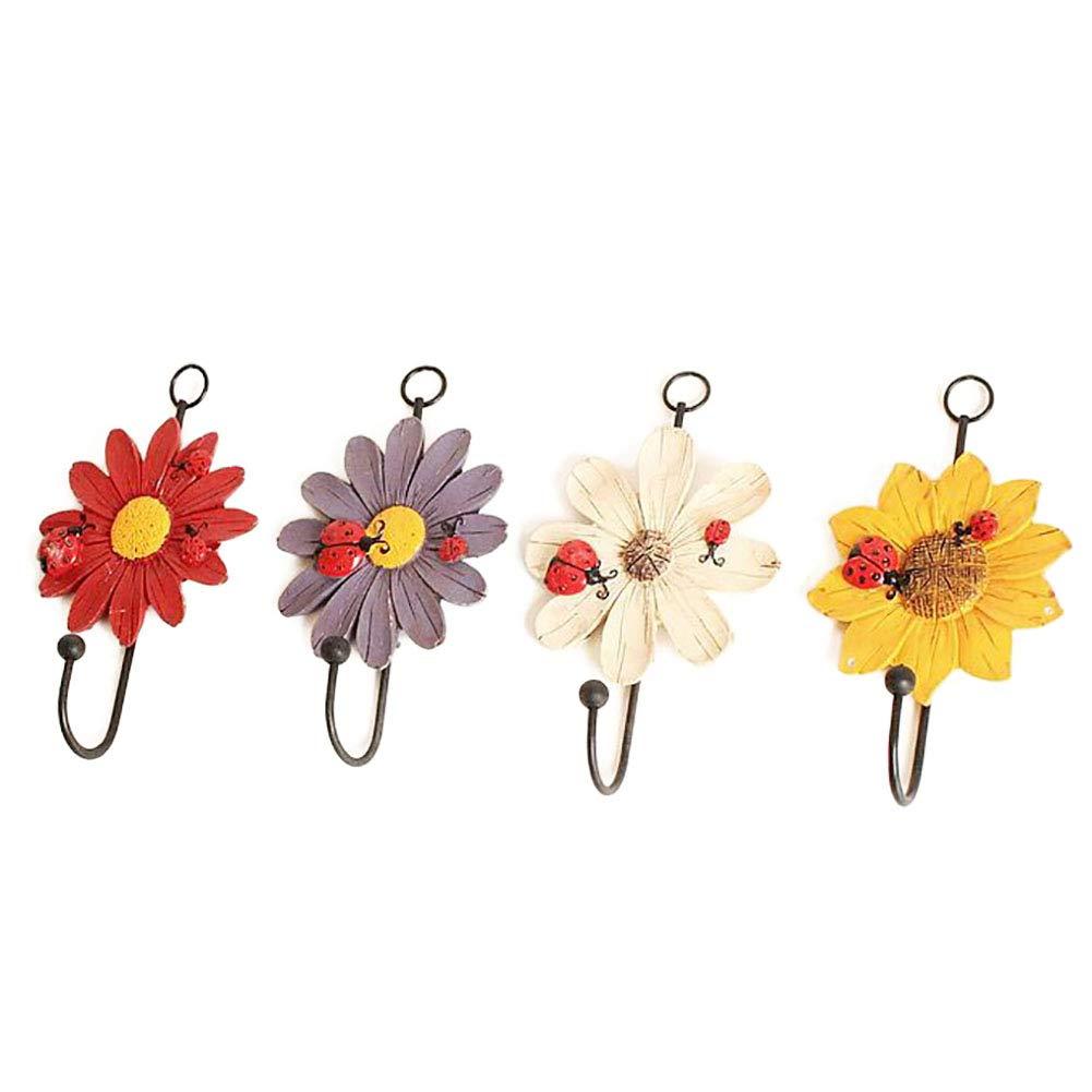 4PCS Multicolour Floral Design for Hanging Clothes Hat Kitchen Appliances Hook Wall Hook Peahop Resin Hook