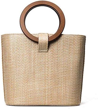 حقيبة يد كبيرة منسوجة من القش بلون ساندي بيتش، حقيبة يد خشبية متينة، حقيبة كتف ماسنجر وايلد [zZ]