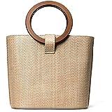 Straw handbag sandy beach bag large bag woven solid wood handbag wild shoulder Messenger bag[zZ]