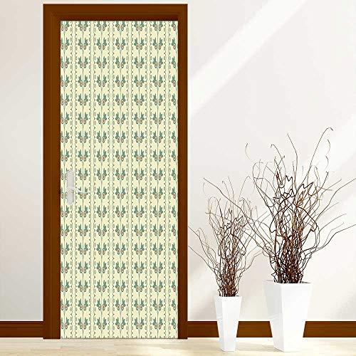 L-QN Fashion Art Decor Door Sticker Colored Diamond Shapes on Cream Background Simplistic Diagonal Tile Print Peach Cream for Home Decorations W31 x H79 inch