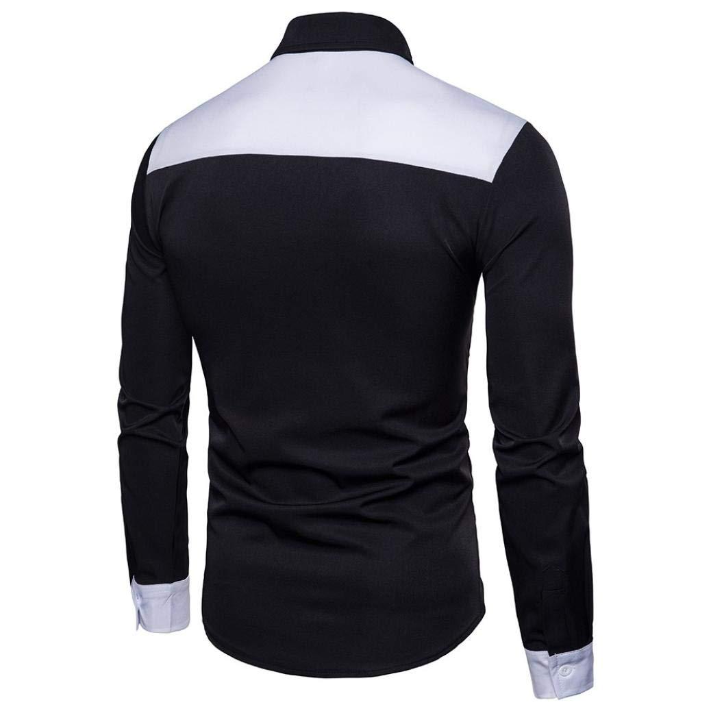 Camiseta Hombre,Camisa De Manga Larga para Hombre Negro Blanco Blusa Casual Delgado Personalidad Blanca Plaid Moda Manga Larga Chic Noche Hombres Top Blusa: ...