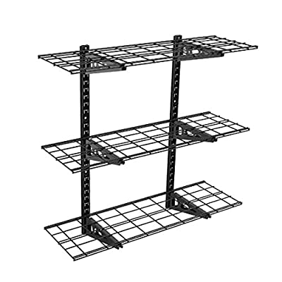 Fleximounts 3-Tier Storage Wall Shelves 1x3ft 12-inch-by-36-inch per shelf Height adjustable Floating Shelves (Black) - Creatively Easy Installation Height adjustment from 22 to 40 inches Weight capacity is up to 450 pounds - wall-shelves, living-room-furniture, living-room - 51A40AWbS0L. SS400  -