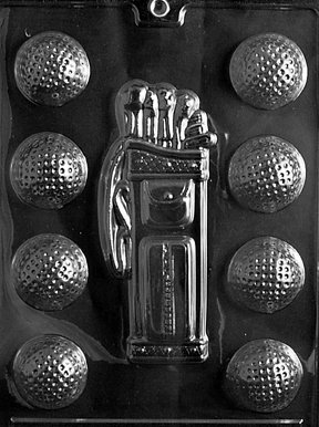 Cybrtrayd S028 Golf/Caddy/Balls Chocolate Candy Mold with Exclusive Cybrtrayd Copyrighted Chocolate Molding (Golf Ball Candy Mold)
