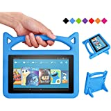 F i r e 7 Tablet Case - Bromee Light Weight Shock Proof with Handle and Friendly Folodable Stand Kids Case for F i r e 7 Inch Display Tablet(Compatible with 7th Generation & 5th Generation) - Blue