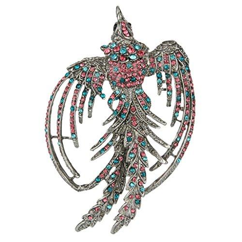 EVER FAITH Women's Colorful Austrian Crystal Flying Phoenix Rebirth Brooch Pin