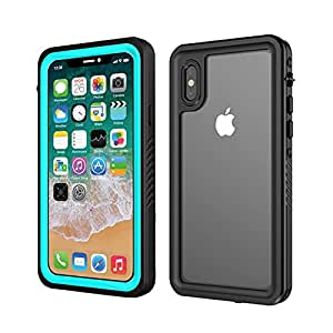 Waterproof iPhone X Case With Built-In Screen Protector – Smilenut Underwater Full Body Apple Phone Shell Case – Clear Protective With Military Tested Shockproof Design (blue)