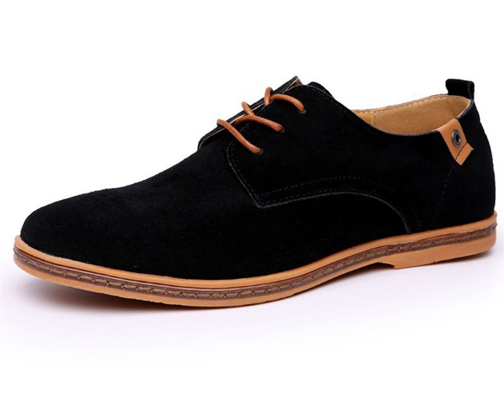 Men's Classic Suede Leather Dress Shoes Business Casual Oxford Black