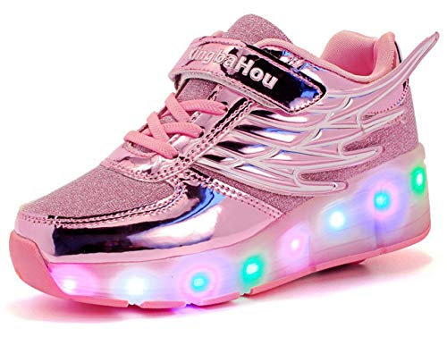 QJRRX Kids Roller Skate Shoes with Single Wheel Shoes Sport Sneaker LED Fashion Sneakers Kids Girls Boys Light Up Wheels Skate Shoes ()