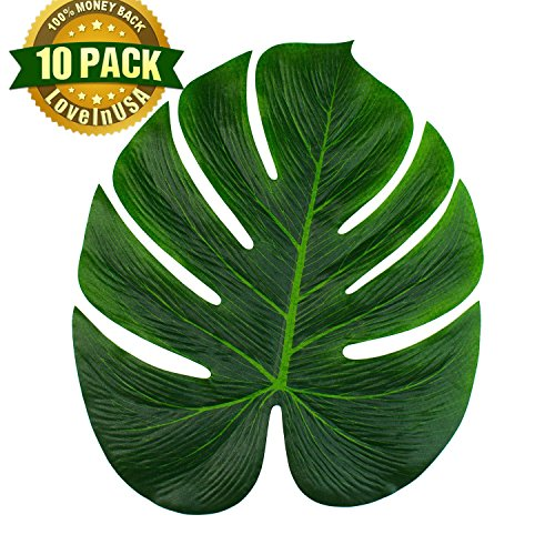 LoveInUSA 10Pcs Tropical Imitation Green Plant Leaves 13-Inch Simulation Leaf for Hawaiian Luau Party Jungle Beach Theme Party (Panda Themed Party)