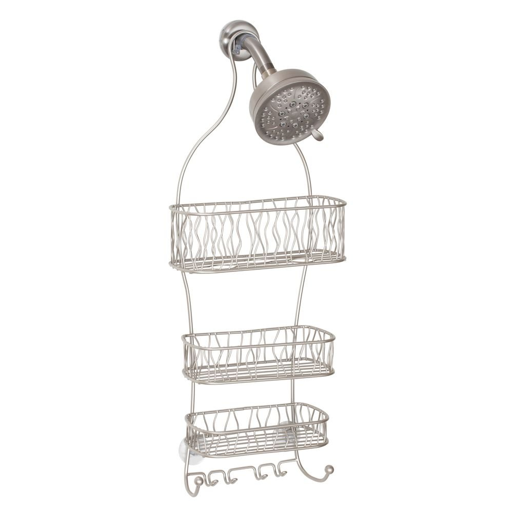 InterDesign Squiggle Hanging Shower Caddy – Bathroom Storage Shelves for Shampoo, Conditioner and Soap, Satin by InterDesign