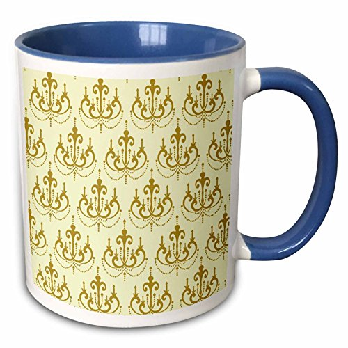 3dRose PS Chandeliers - Chic Gold Chandeliers - 15oz Two-Tone Blue Mug ()